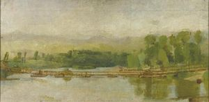 William Coldstream - The Bailey Bridge built by Royal Engineers over the Volturno River, Italy