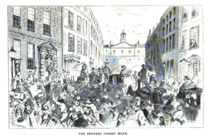Berners Street hoax - The Berners Street hoax. Lithograph by Alfred Concanen