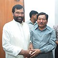 The Chief Minister of Sikkim, Shri Pawan Chamling calls on the Union Minister for Consumer Affairs, Food and Public Distribution, Shri Ramvilas Paswan, in New Delhi on July 17, 2014 (1).jpg