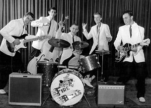 The Fireballs - The group in 1959, from left: George Tomsco, Stan Lark, Eric Budd, Dan Trammel, Chuck Tharp