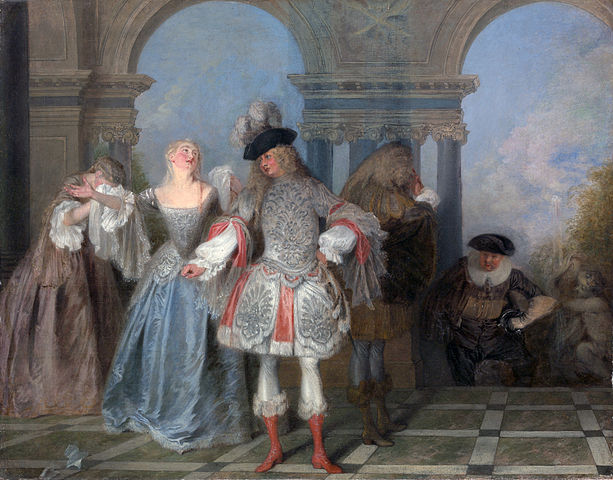 File the french comedians by watteau met museum of art for Farcical in french