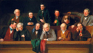 Article Three of the United States Constitution - A nineteenth-century painting of a jury.