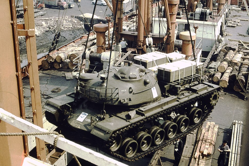 The M48 Patton tank is lifted gently aboard TS Nabob, NY - 1959