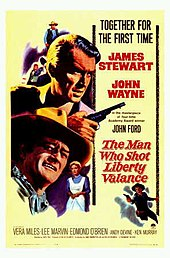 A yellow film poster featuring images of Stewart holding a gun and Wayne in a cowboy hat
