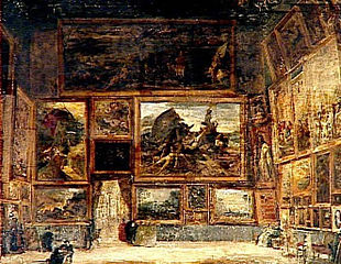 View of the Salon Carré in the Louvre in 1831