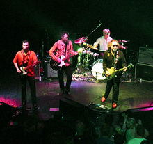 The Minus 5 (left to right: Ramberg, Buck, Rieflin, McCaughey) perform at the Georgia Theatre in Athens, Georgia on April 1, 2006