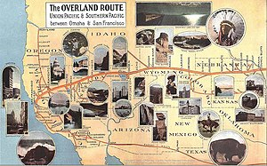 "City of Denver (train) - A 1908 map depicting the Union Pacific's ""Overland Route."""