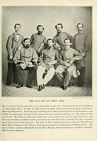 William Alfred Freret - June 1865 William A. Freret stands in back row far right
