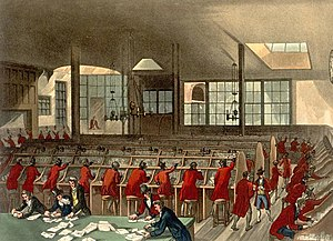 Military mail - Clerks organising mail at a post office in London, circa 1808.