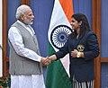 The Prime Minister, Shri Narendra Modi with the Rio Olympic Bronze Medal Winner & Rajiv Gandhi Khel Ratna Awardee of 2016, Indian wrestler Sakshi Malik, in New Delhi on August 28, 2016.jpg