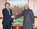 The Prime Minister of Japan, Mr. Yoshihiko Noda calls on the Vice President, Shri Mohd. Hamid Ansari, in New Delhi on December 28, 2011.jpg
