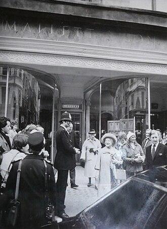 Mallett Antiques - The Queen Mother Visiting Mallett at 40 New Bond Street, 1981.