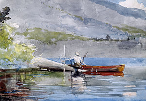 "English: ""The Red Canoe,"" watercolor..."