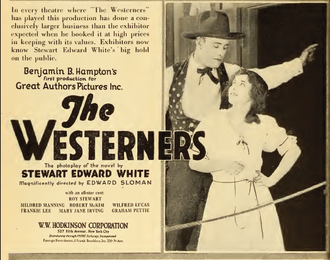 Roy Stewart (silent film actor) - Ad with Roy Stewart and Mildred Manning in The Westerners (1919)