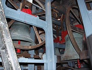 John Taylor & Co - Inside the belfry of St Stephen's Church, Bristol, England. In 1970 Taylor's cast five of the twelve bells and a new frame in which they re-hung all twelve.