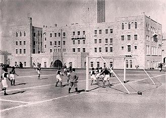 Jerusalem International YMCA - Image: The first soccer match on the Y.M.C.A. athletic field in Jerusalem. 1 April 1933. D637 002