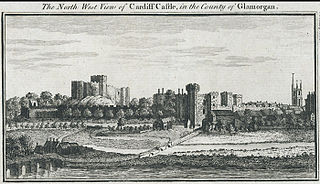 The north west view of Cardiff castle, in the county of Glamorgan
