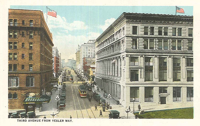 File:Third Avenue looking north from Yesler, Seattle, circa 1920s.jpg