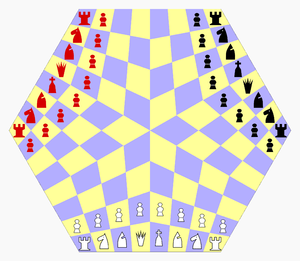 Three-Man Chess gameboard and starting position.PNG