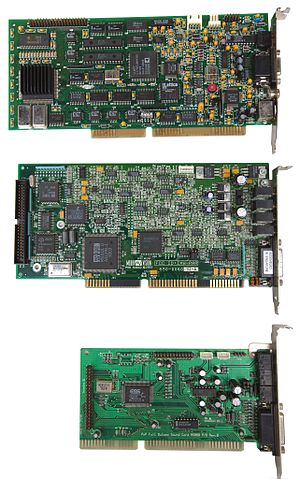 Sound card - Three early ISA (16 bit) PC sound cards showing the progression toward integrated chipsets.