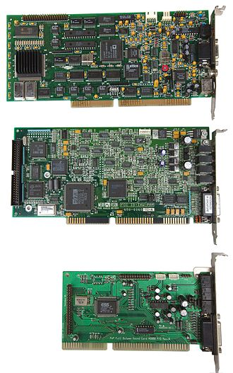 Sound card - Three early ISA (16-bit) PC sound cards showing the progression toward integrated chipsets