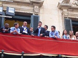 Tiago Gomes (footballer, born 1985) - Gomes (middle) celebrates promotion to La Liga with Hércules