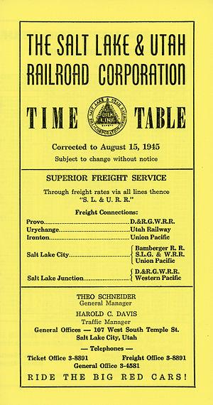 Salt Lake and Utah Railroad - The Salt Lake and Utah Railroad's timetable 45.