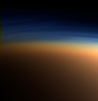 Titan (moon) - True-color image of layers of haze in Titan's atmosphere