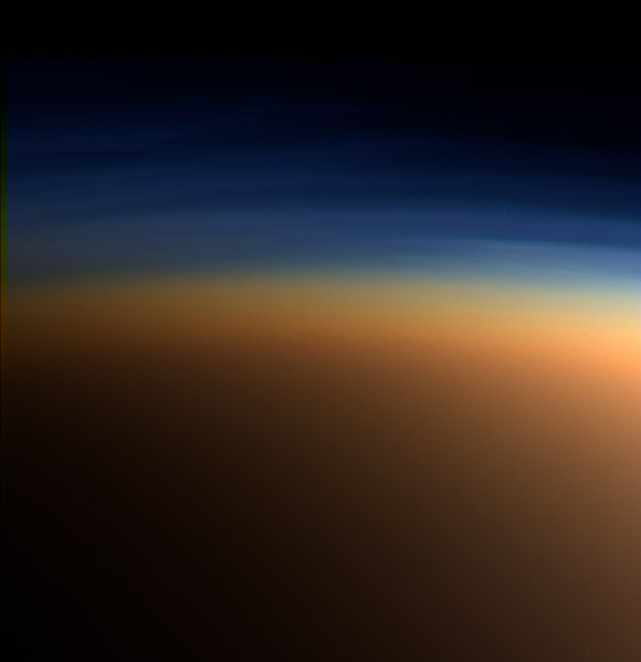 Natural color image of Titan's upper atmosphere