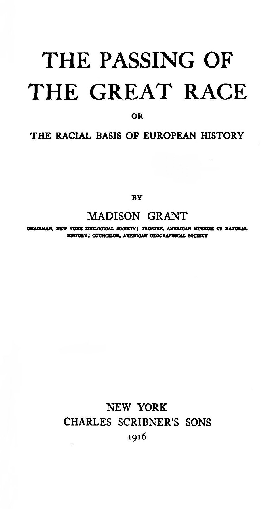 Title Page of the The Passing of the Great Race
