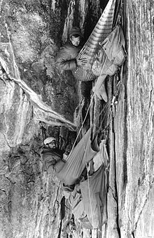 Hammocks were used by climbers before portaledges were developed. & Portaledge - Wikipedia