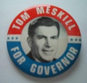 Thomas Joseph Meskill - A lapel pin from Meskill's gubernatorial campaign