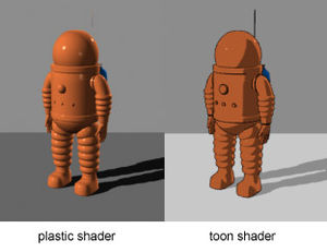 Cel shading - A representation of a space suit from The Adventures of Tintin comic Explorers on the Moon with a basic cel-shader (also known as a toon shader) and border detection