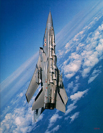 Panavia Tornado ADV - Tornado F.2 flying at a high climb angle while making a turn to port; note the air-to-air missiles on the underside of the fuselage, and only two missile rails under the wings