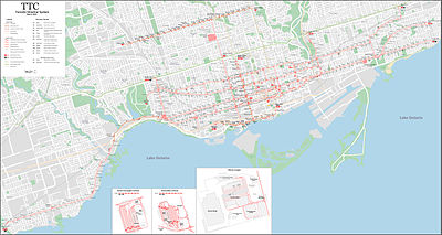 Toronto Subway Map With Streets.Toronto Streetcar System Wikipedia