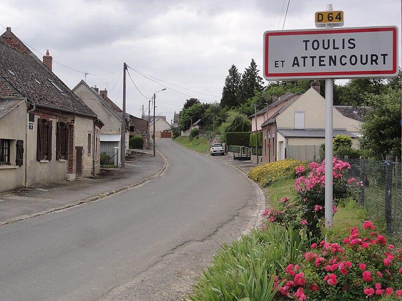 Toulis-et-Attencourt (Aisne) city limit sign