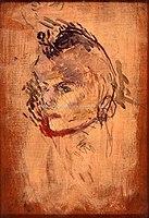 Toulouse-Lautrec - TETE DE FEMME DE TROIS-QUARTS A GAUCHE, 1890, MTL.134.jpg