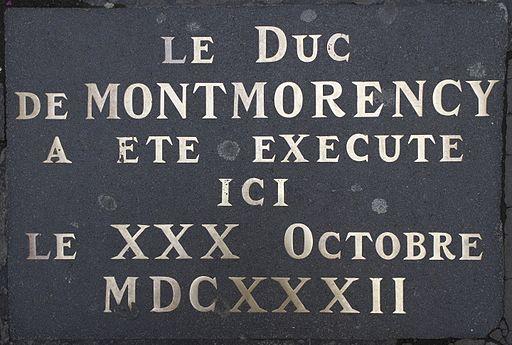 Toulouse - Cour Henri IV - Plaque duc de Montmorency