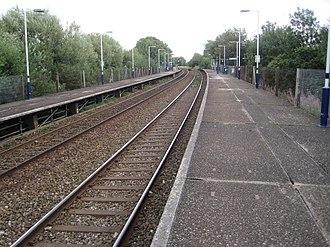 Trafford Park railway station - Image: Trafford Park railway station, Greater Manchester (geograph 3613613)