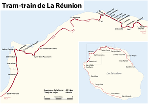 Réunion Tram Train - map of the planned route