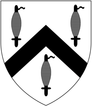 Charles Hepburn-Stuart-Forbes-Trefusis, 20th Baron Clinton - Arms of Trefusis: Argent, a chevron between three spindles sable