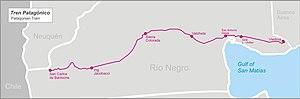 Servicios Ferroviarios Patagónico - Map of the line Viedma-Bariloche operated by Tren Patagónico S.A.