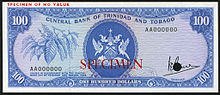 Trinidad and Tobago 100 Dollars banknote of 1964.jpg