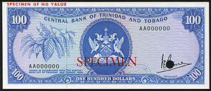 Trinidad and Tobago dollar - Trinidad and Tobago 100 Dollars banknote of 1964