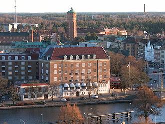 Trollhättan - The Göta älv river and Trollhättan Water Tower in central Trollhättan