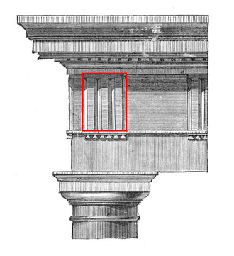 Triglyph - Triglyph centered over the last column in the Roman Doric order of the Theater of Marcellus