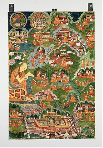 Je Tsongkhapa - Painting depicting the life of Tsongkhapa, the largest image on the left showing the dream he had of the great Indian scholars like Buddhapalita.