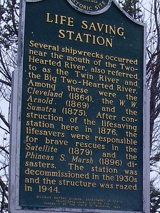 Two Hearted River - State of Michigan marker for Two Hearted Life-Saving Station