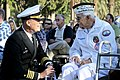 U.S. Navy Capt. Eric Ver Hage, left, the commanding officer of Naval Surface Warfare Center, Corona Division, talks with Pearl Harbor survivor Peter Nichols before a ceremony commemorating the 71st anniversary 121207-N-HW977-039.jpg