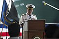 U.S. Navy Capt. Paul J. Lyons, the commander of Destroyer Squadron 15, speaks during a news conference on the guided missile destroyer USS McCampbell (DDG 85) in Chennai, India, Nov. 4, 2013 131104-N-TX154-168.jpg